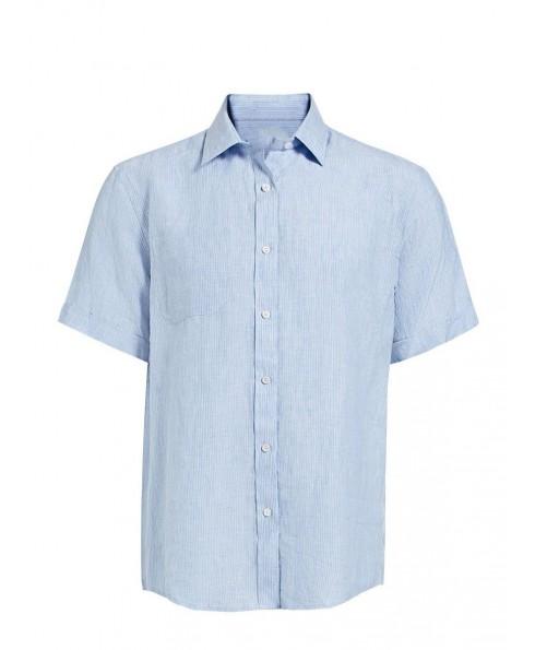 Basic Men'S Short Sleeve Linen Shirt