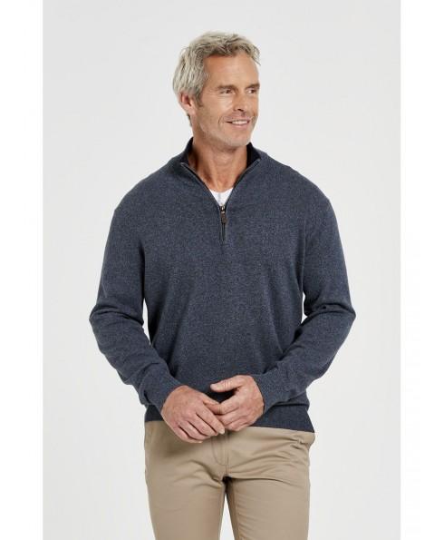 Men'S Cotton Elastic Band 1/2 Zipper Sweater