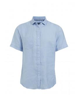Men'S Short Sleeve Plain Linen Shirt