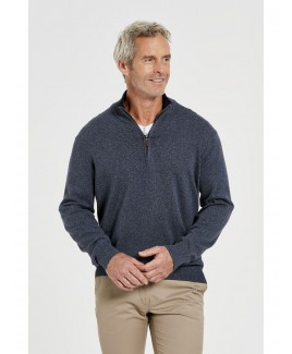 Men'S Cotton Elastic Band 1/2 Zipper Sweater